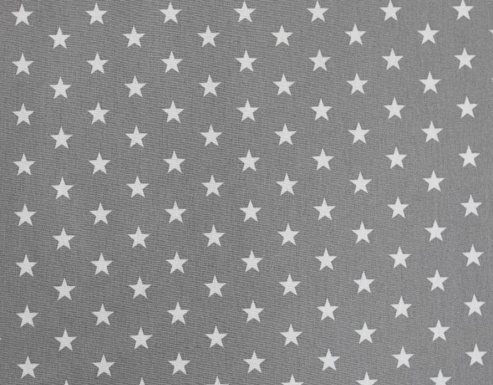 Popelín algodón estrellas gris blanco