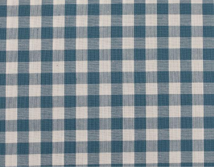 Popelín algodón cuadros grande azul