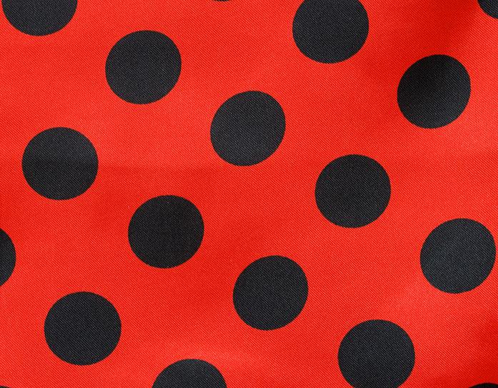 Carnaval fiesta raso estampado topo rojo/negro