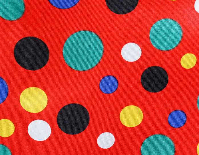 Carnaval fiesta raso estampado topo pequeño rojo/multicolor